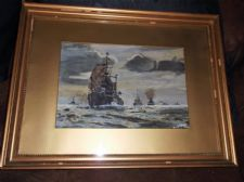 OLD VINTAGE FRAMED GLAZED WATERCOLOUR PAINTING GUNSHIPS SEASCAPE SIGNED MUMFORD